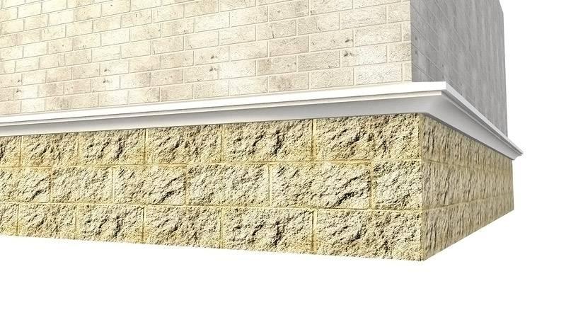Для облицовки используется комбинированный вариант, для цокольной части и основной стены