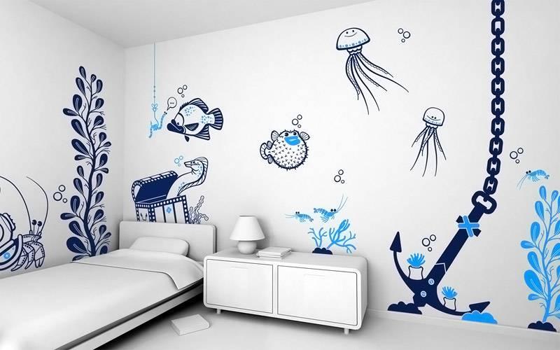 Двухцветные рисунки украшают детскую комнату