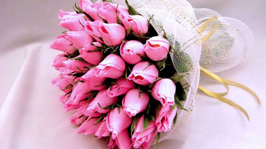 Букет тюльпанов из конфет и гофрированной бумаги своими руками видео