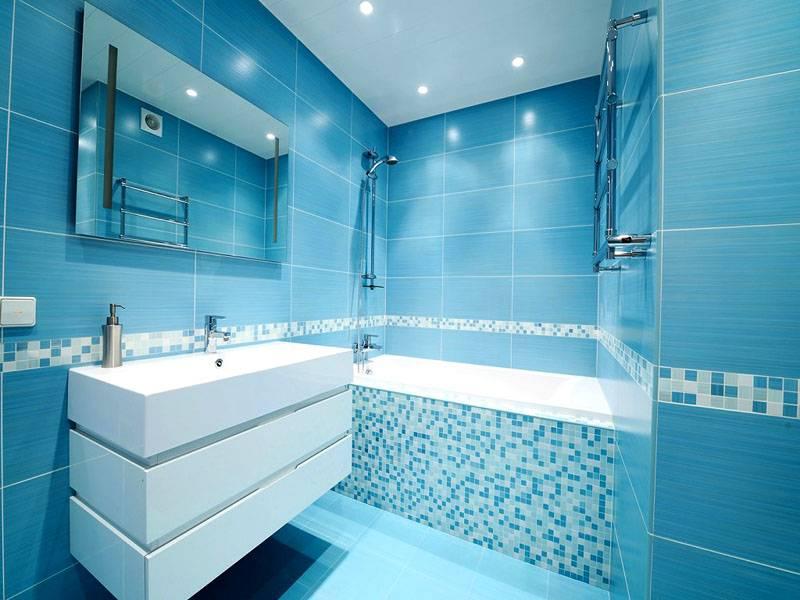 Комната оформлена только с использованием голубого цвета