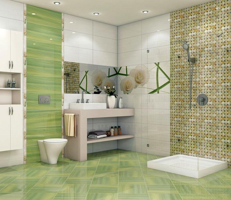 Органичное сочетание мозаики и керамической плитки