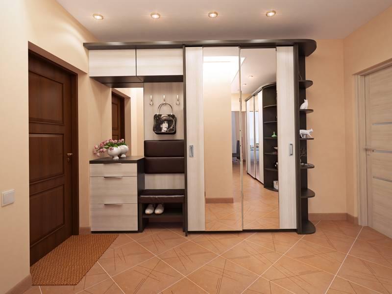 Шкаф купе может дополняться небольшим мебельным гарнитуром
