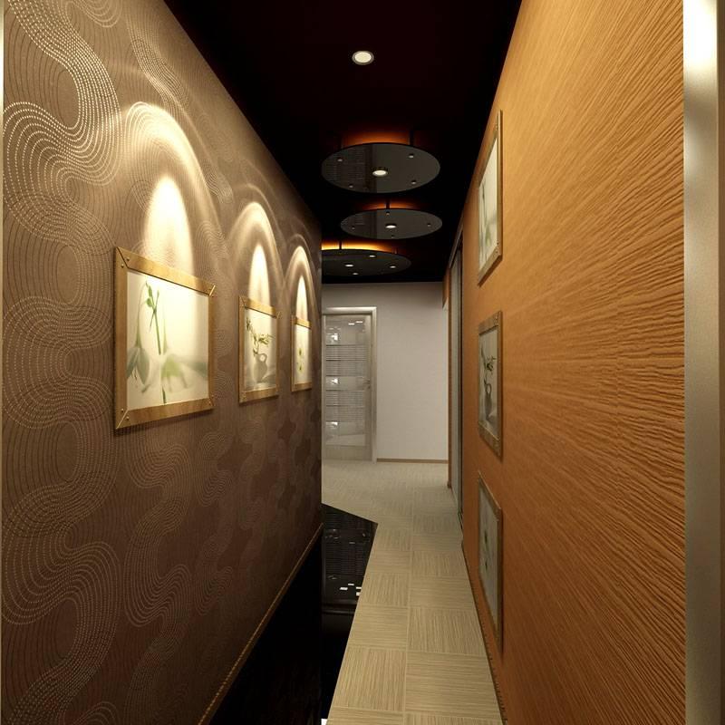 Интерьер узкого помещения можно разнообразить при помощи декора на стенах, оригинальной подсветки и оформления напольного покрытия