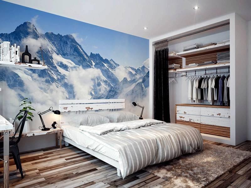 Суровые виды горных вершин изображены на этих фотообоях 3Д для стен (каталог фото для спальни)