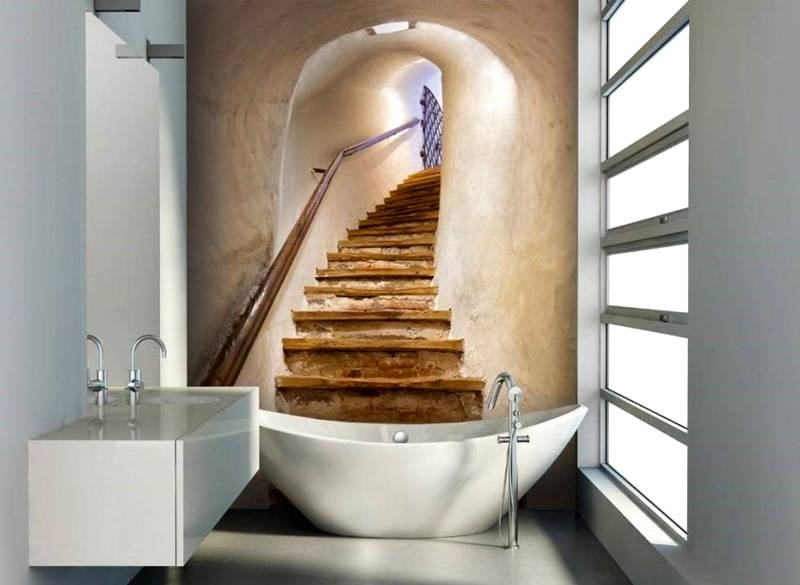 Этот рисунок увеличивает визуально объем ванной комнаты. Он дополняет строгий современный дизайн сантехники, других деталей интерьера романтикой средневекового замка