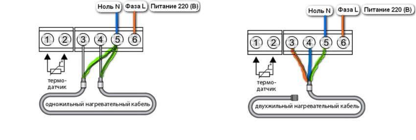 Для подключения одно- и двухжильных кабелей применяют разные электрические схемы