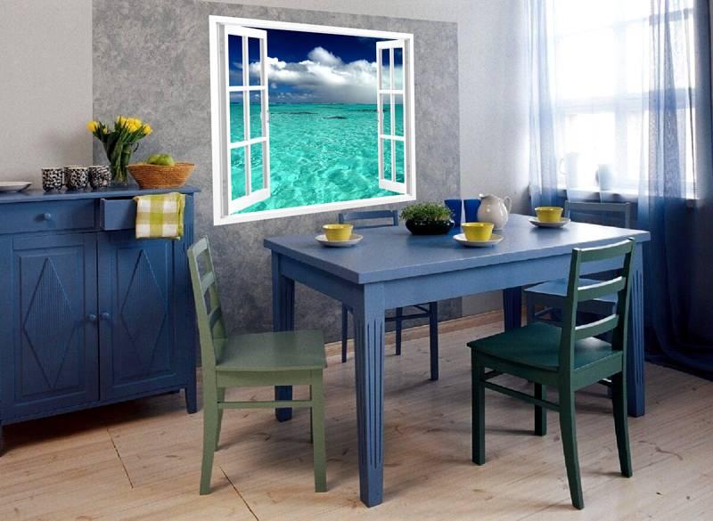 Небольшое изделие – «окно» с видом на безмятежную бухту экзотических южных морей. Для выразительности использовано обрамление темно серого цвета