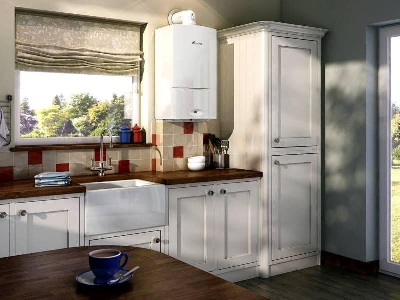 Мощный газовый котел для отопления и горячего водоснабжения можно установить на кухне