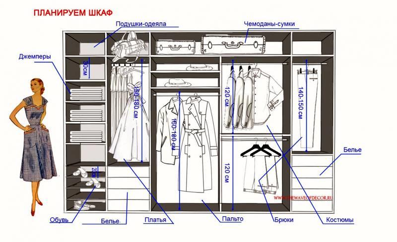 Размеры шкафы купе дизайн внутри с размерами
