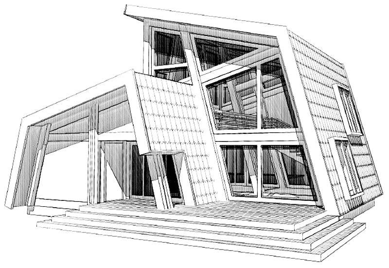 Проект фехверкового дома с панорамным остеклением