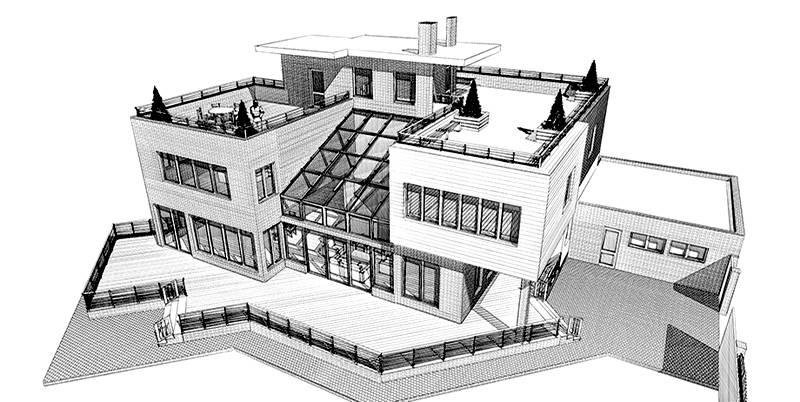 Проект с панорамным остеклением крыши