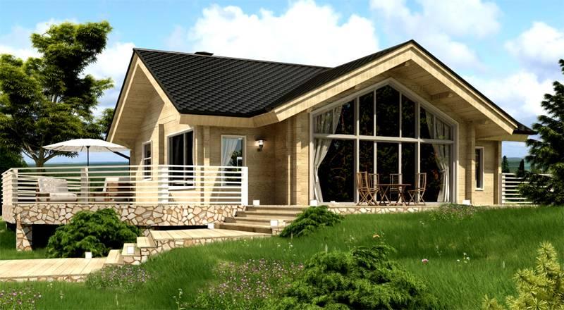 Пример дома из профилированного бруса с панорамным окном