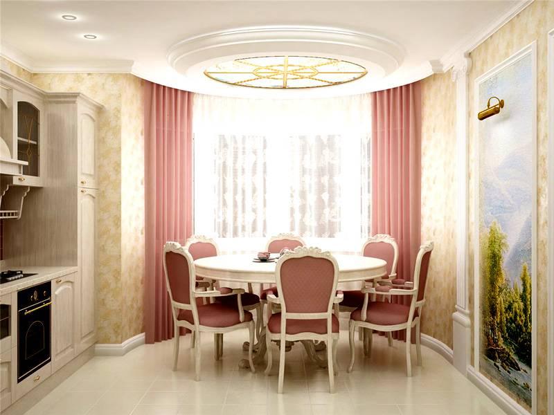 В эркере столовой отлично разместится обеденная зона. Здесь нужно продумать разные сценарии освещения, для семейных ужинов или приёма гостей