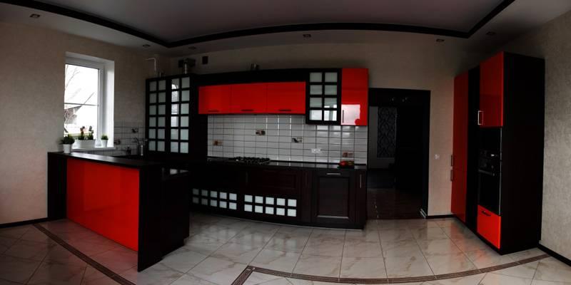 Цвета интерьера кухни в «японском» стиле: черный, белый, красный и серый