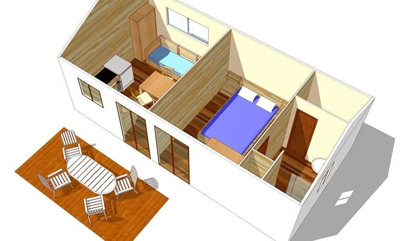 Строение с двумя одинаковыми по размеру комнатами