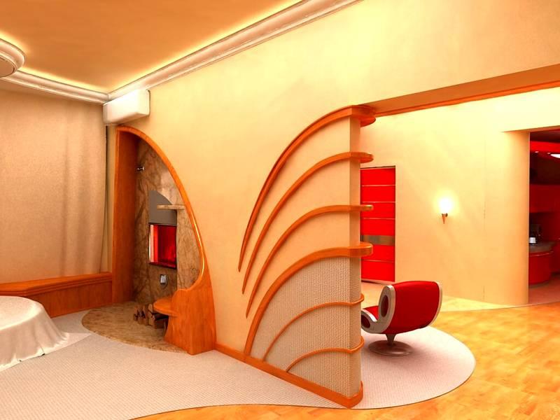 Эта основа из гипсокартона дополнена декоративными и функциональными элементами из дерева, ткани, камня
