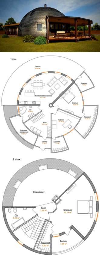 Фото и проект круглого дома