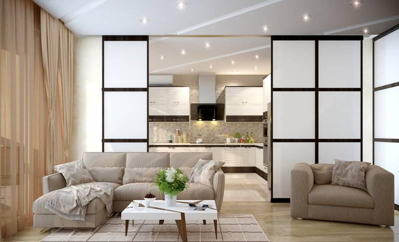 Фотография перегородки из гипсокартона кухня-гостинаяс раздвижными дверями