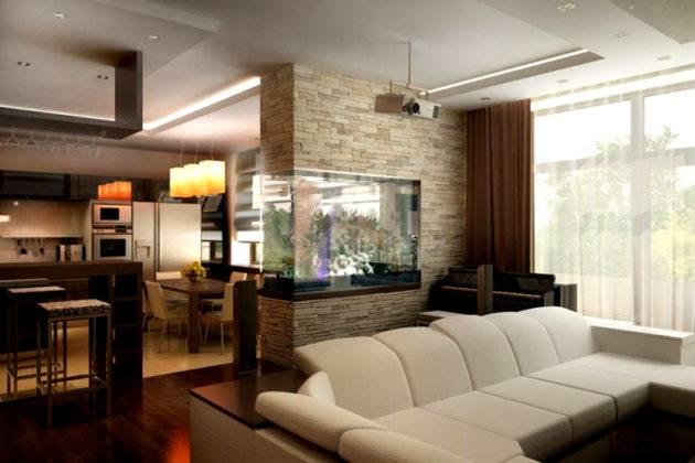В толстой конструкции можно установить аквариум