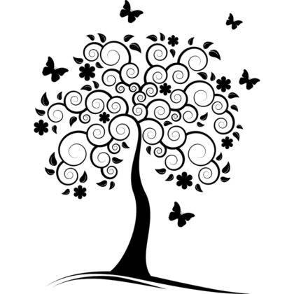 Трафарет деревьев и растений