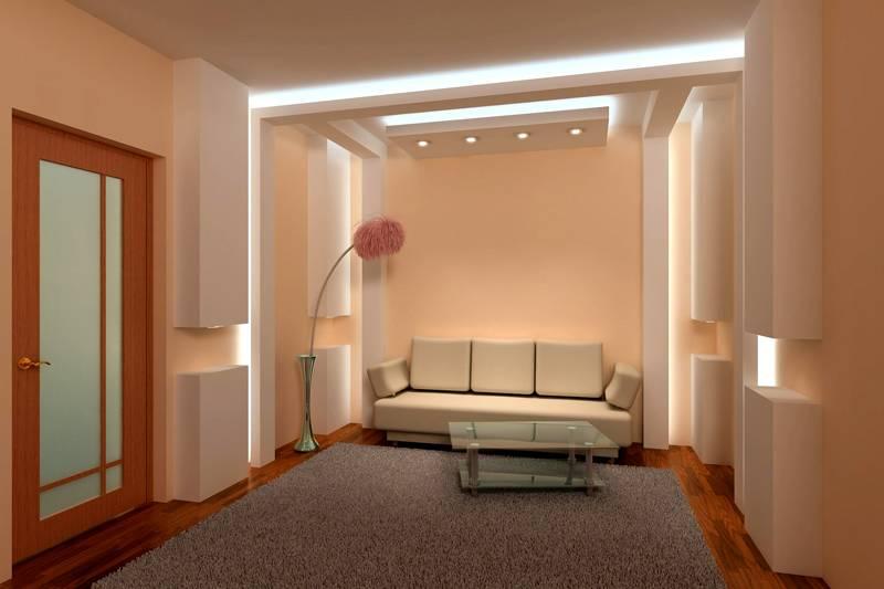 С помощью подсвечивания можно зонировать помещение
