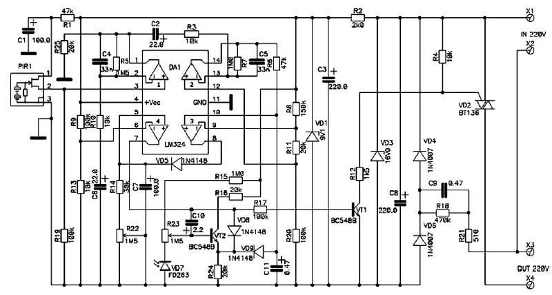 Электрическая схема современного ИК датчика движения