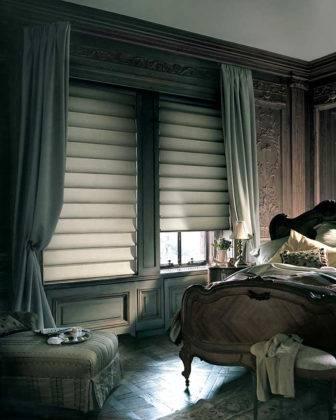 В спальне плотные ткани помогут создать комфортные условия. Допустимы комбинации из нескольких разных видов штор