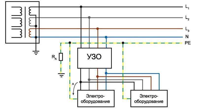 Схема подключения с использованием заземления