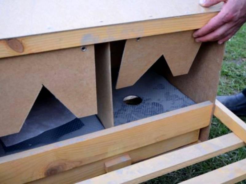 Для автоматизации сбора яиц устанавливают двойное дно с вырезом в центральной части