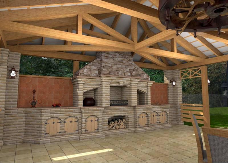 Здесь можно установить не только мангал, но и соорудить комплексную печь, включающую тандыр, барбекю, столики для разделки и многое другое