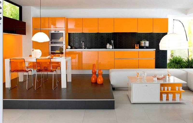 Оранжевый сочетается с зеленым, коричневым