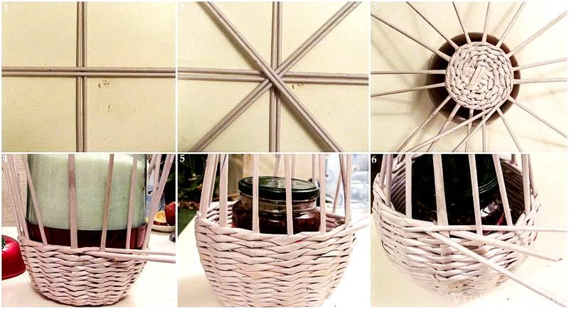 Процесс изготовления корзинки из бумажных трубочек