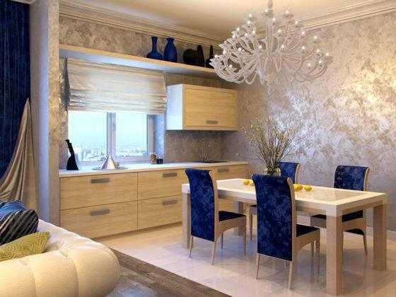 Фото декоративной штукатурки на кухне и в столовой