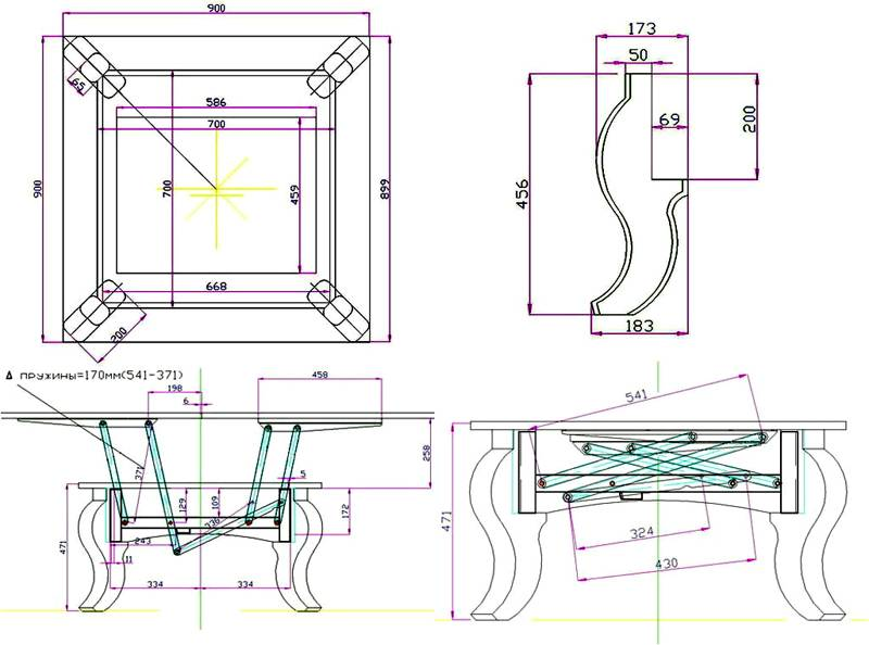 Схема журнально-обеденного раздвижного стола трансформера