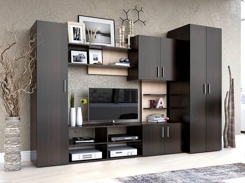 В малогабаритной квартире в гостиной может располагаться шкаф для хранения платьев и белья