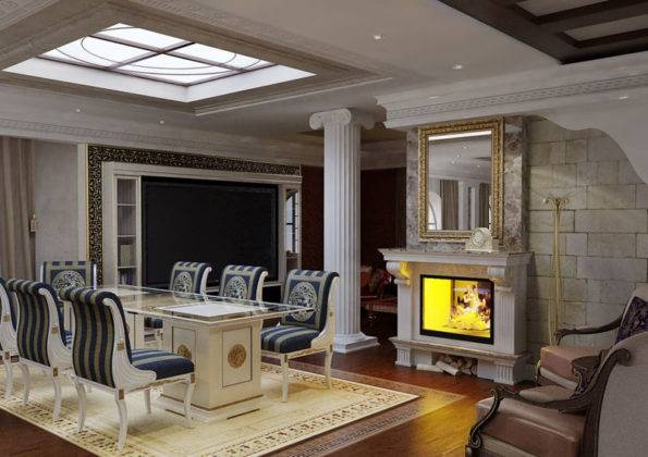 Дизайн в греческом стиле с применением сине-белой расцветки, тематических украшений. На этом фото подвесных потолков из гипсокартона в зале видно, как эффектно выглядит умело встроенное фальш-окно