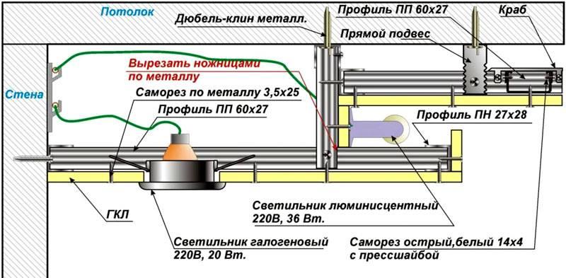 Монтажная схема люминесцентных и галогеновых приборов