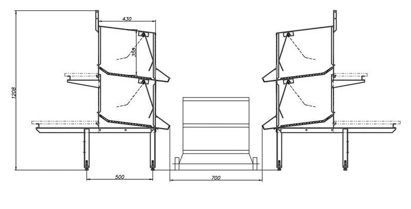Схема линии с автоматизированной системой сбора яиц