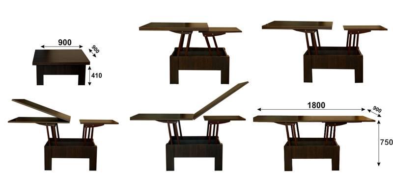 В этом столике встроенные пружины облегчают перемещение вверх. Заметные усилия прикладывают только для возвращения столешницы в исходное положение