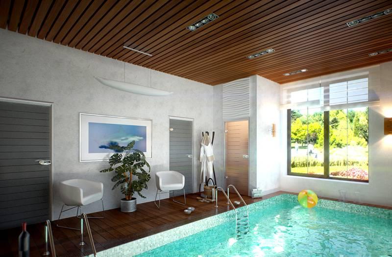 Водооталкивающие свойства силикатной штукатурки позволяют использовать ее в помещениях сауны и бассейна