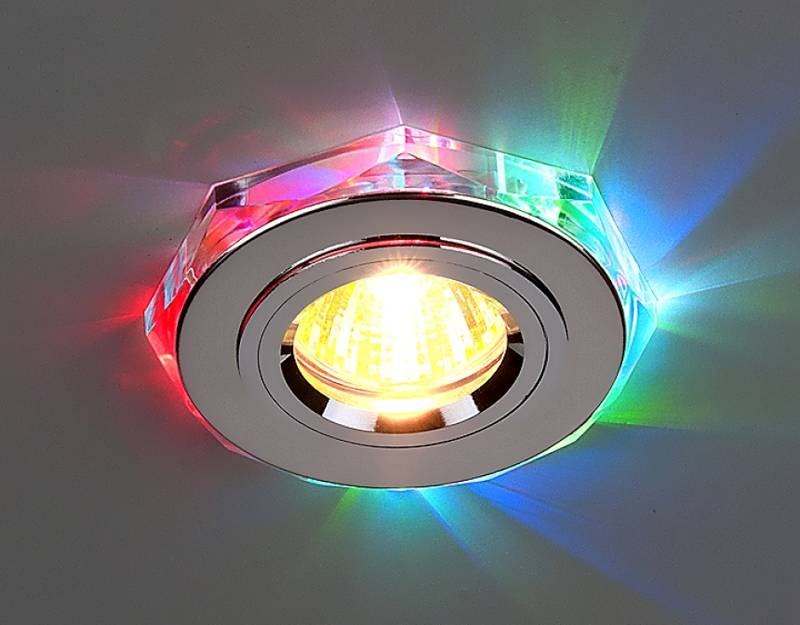 В этом изделии свет галогенного источника разложен на цветовые компоненты с помощью отражения волн гранями стеклянной призмы