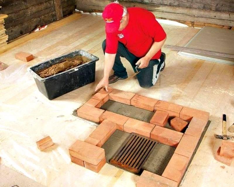 Фундамент под печь с применением заливки бетона создать сложнее, чем с помощью ввинчивающихся свай