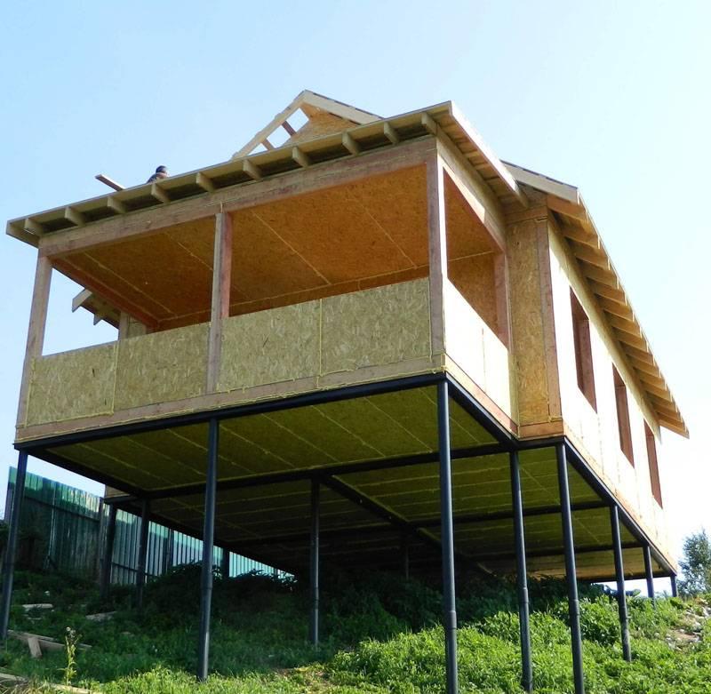 Если здание устанавливают на склоне, часть цоколя получится сделать функциональной