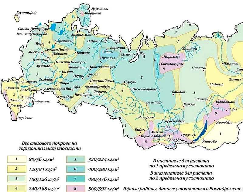 Карта осадков, определяющая вес снегового покрова