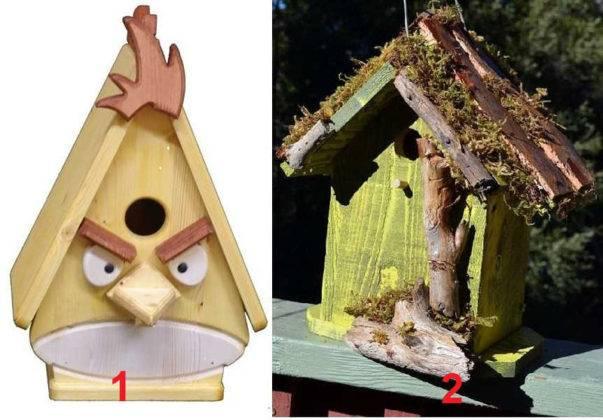 Необычные скворечники (на фото) можно создать с применением относительно сложных технологий (1) и подручных материалов (2)