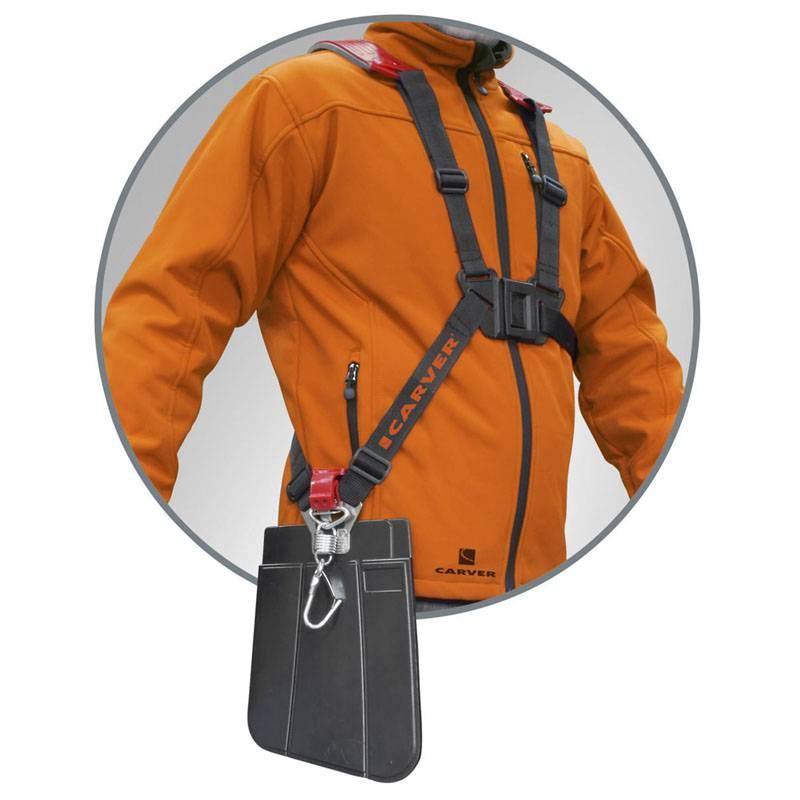 Упростит обращение с тяжелой техникой надежный плечевой ремень с металлическим карабином