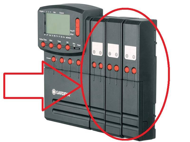 С помощью дополнительного модуля общее количество клапанов можно увеличить до 12 штук
