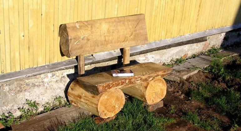 Как сделать скамейку из бревен своими руками фото 73