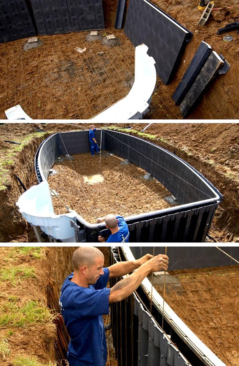 Даже крупный бассейн установить не сложно своими руками с применением специального набора из стандартных деталей