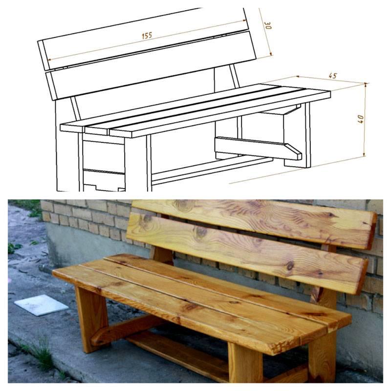 Простая скамейка со спинкой